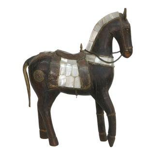 Wooden Horse Figurine Statue With Mother of Pearl Saddle For Sale