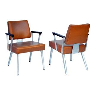 1960s Vintage Angular Gf GoodForm Aluminum and Vinyl Armchairs - a Pair For Sale