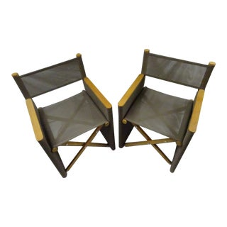 Early 21st Century Gordon Guillaumier Roda Orson Garden Director Folding Chairs - a Pair For Sale