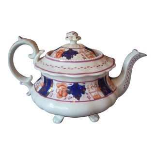 Antique Gaudy Welsh Teapot For Sale
