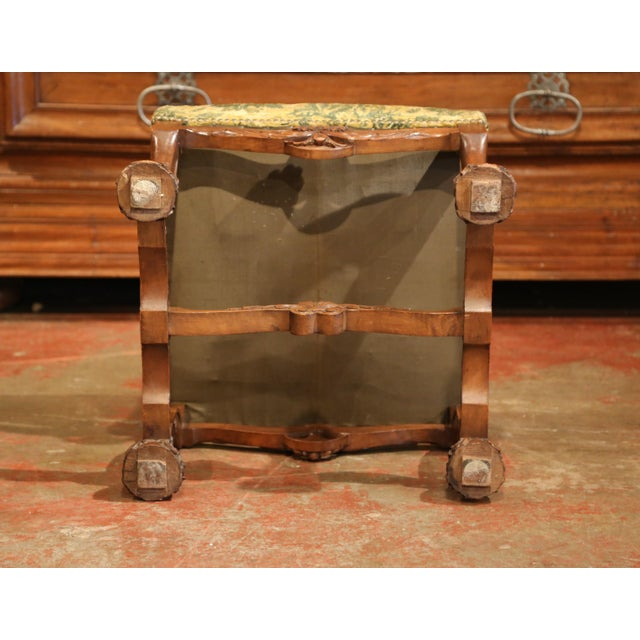 Fruitwood 19th Century French Louis XIII Carved Walnut Stool from the Perigord For Sale - Image 7 of 8