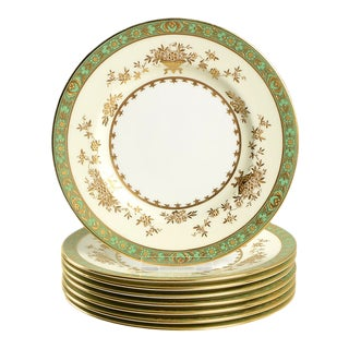 1960s Minton Dynasty Green Salad Plate - Set of 8 For Sale