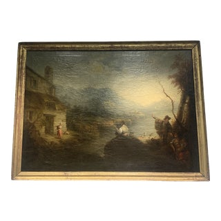 Late 20th Century Antique French Landscape Painting For Sale