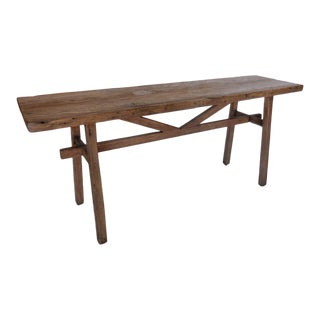 Reclaimed Wood Console or Sofa Back Table with Hand Forged Iron Base For Sale