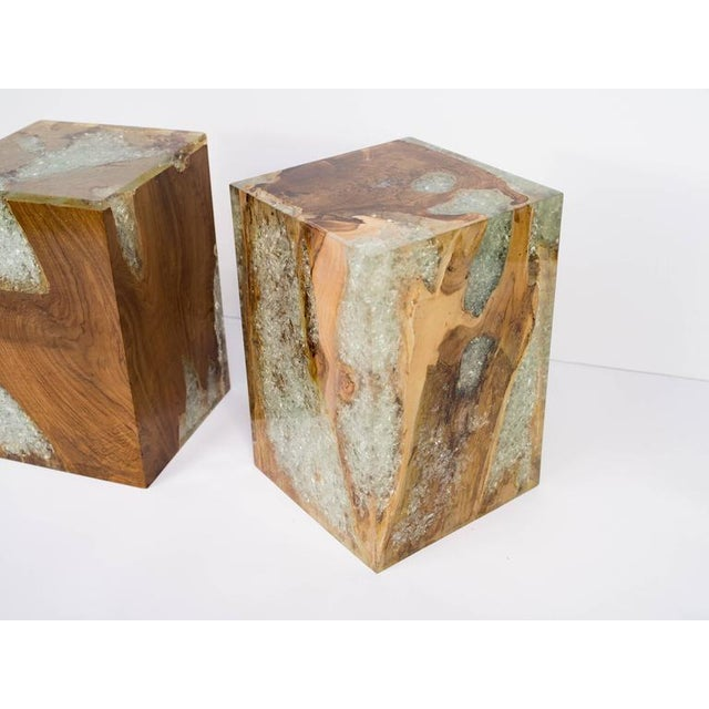 Organic Teak Wood and Cracked Resin Cube Table For Sale - Image 9 of 10