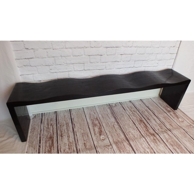 Vintage Wave Bench in Black Lacquer - Image 5 of 11