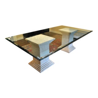 Vintage 1985 Travertine Marble Dining Table For Sale