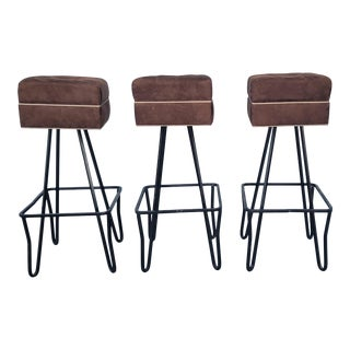 Vintage Tufted Ultra Suede and Metal Bar Stools - Set of 3 For Sale