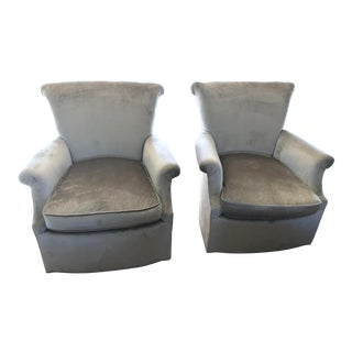 1970s Vintage Traditional Petite Lounge Chairs- A Pair For Sale