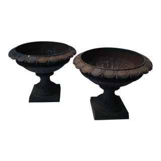 Pair of Antique English Cast Iron Planters - a Pair For Sale