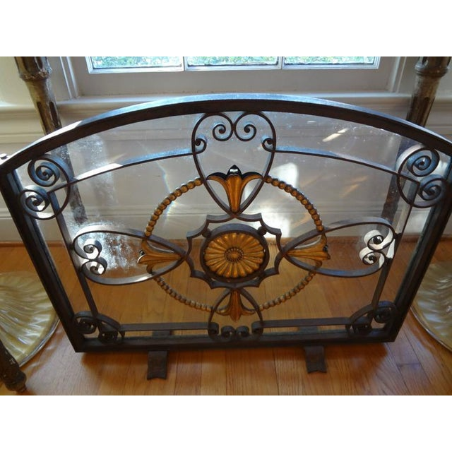 Rare Antique French Art Deco hand-forged wrought iron and glass fireplace screen/firescreen signed SZABO, Adalbert Szabo...