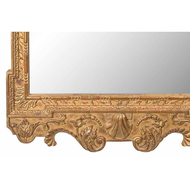 English Late 20th Century Georgian Style Hand-Carved and Gilt Mirror For Sale - Image 3 of 6