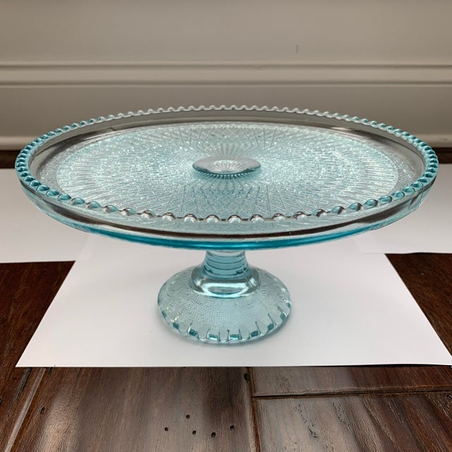1950s 1950s Jeannette Blue Ice Glass Cake Plate Stand For Sale - Image 5 of 5
