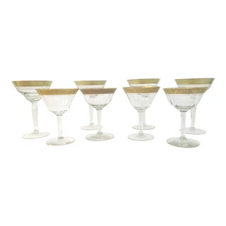 Mid-Century Gold Banded Cocktail Glasses- Set of 8 For Sale