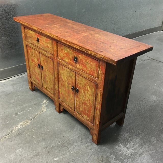 Vintage Asian-Style Distressed Sideboard - Image 5 of 8