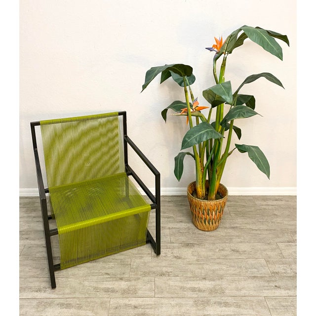 Mid-Century Modern Mid Century Modern Style Iron and Vinyl Threaded Side Chair For Sale - Image 3 of 8