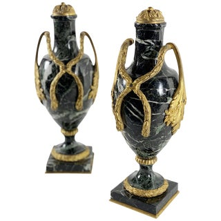 French Green Marble Urns With Bronze Dore - a Pair For Sale