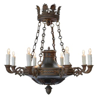 Antique Empire Style Bronze Chandelier