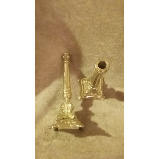 Vintage Brass Candlestick Holders - A Pair - Image 4 of 5