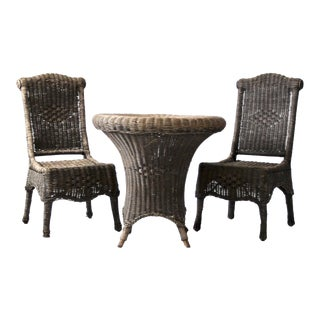 Antique Black Wicker Table and Chairs - Set of 3