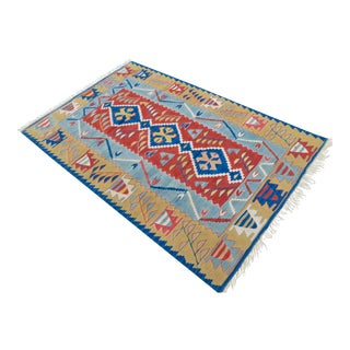 Turkish Hand Woven Kilim Rug. Flat Weave Wool Oushak Area Rug- 3′7″ X 5′7″ For Sale