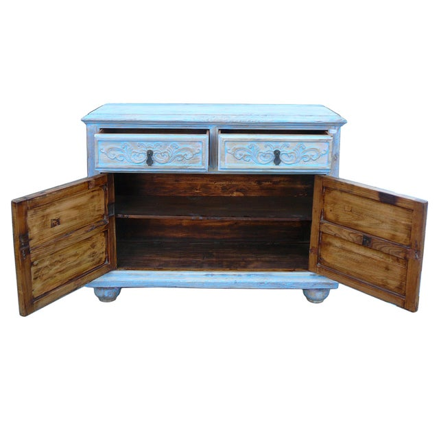 Shabby Rustic Light Blue High Credenza Cabinet For Sale - Image 5 of 7