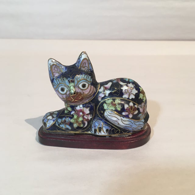 Vintage Chinese Cloisonné Enameled Cat - Image 2 of 3