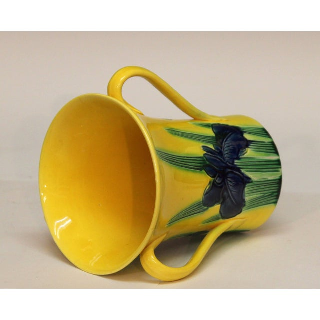 Antique Awaji Pottery Incised Iris Friendship Cup Vase For Sale - Image 4 of 11