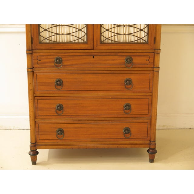 1950s 1950s Regency Kittinger Satinwood Chiffonier High Chest For Sale - Image 5 of 11
