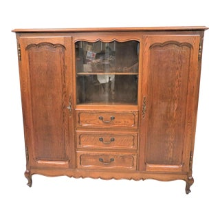 Vintage French Oak Bookcase With Display Cupboard and 3 Drawers For Sale