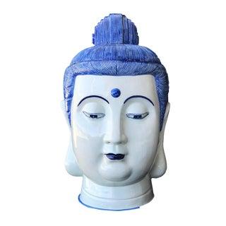 "Chinoiserie Blue & White Porcelain Buddha Head 21"" H For Sale"