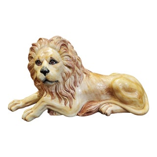 Vintage Italian Terra Cotta Lion Figurine For Sale