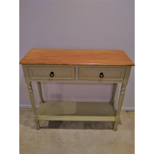 2010s Walnut Farmhouse Console Table For Sale - Image 5 of 5