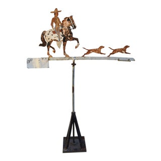 Early 1900s Hand Forged Iron Cowboy, Horse & Dogs Weathervane
