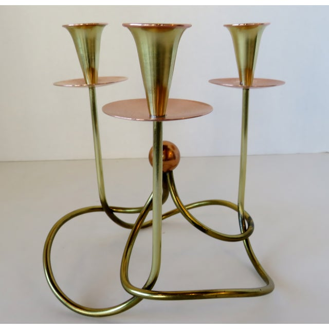 Mid-Century Modern Metal Knot Candelabra For Sale - Image 3 of 6