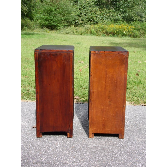 Antique Pair Art Deco Walnut Nightstands End Tables Bedroom Stands For Sale - Image 11 of 13