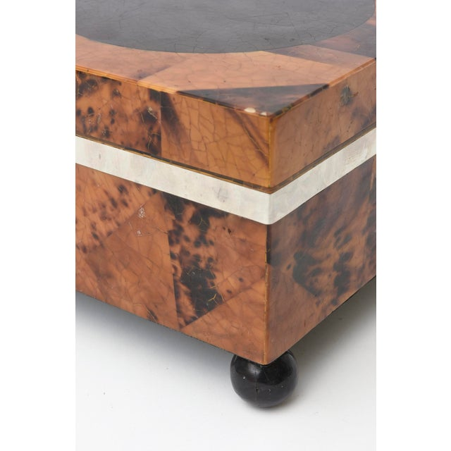 Maitland Smith Tessellated Tortoise Shell, Wood and Chrome Hinged Box For Sale - Image 9 of 10