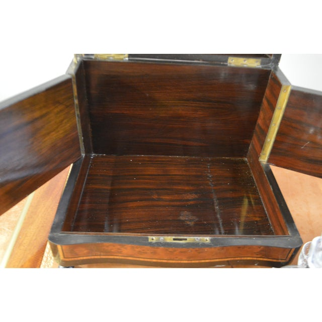 19th Century Portable Bar With the Origianal Etched Crystals Decanters and 14 Sherry Glasses Sitting in a Rosewood Box. For Sale - Image 10 of 11