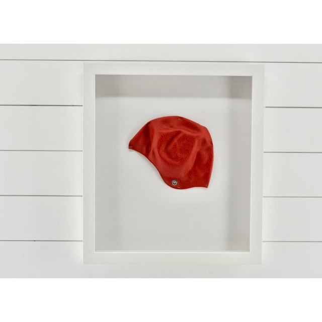 Vintage rubber women's swim cap. They look great in bathrooms or kids rooms. Professional museum framing with UV acrylic.