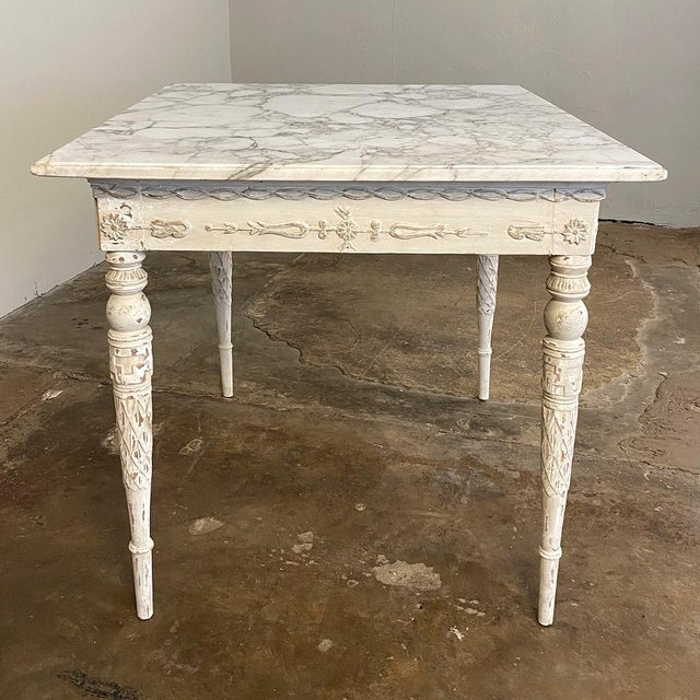 Greige Center/End Table, 18th Century Swedish Painted With Marble Top For Sale - Image 8 of 12
