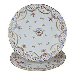 Antique Sevres Style Floral Porcelain Plates-A Pair