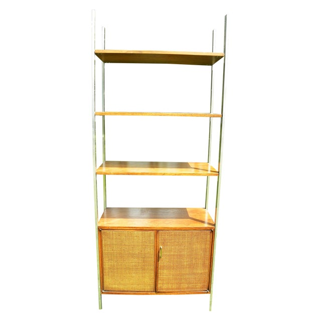 Vintage Mid-Century Chrome and Walnut Wall Unit For Sale