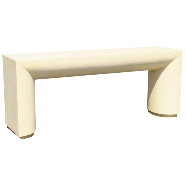 Mid Century Modern Cream Lacquered Canvas and Brass Console Table For Sale
