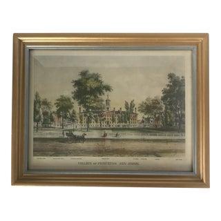 Early 20th Century Framed Princeton University/Nassau Hall Print For Sale