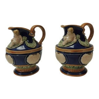 Pair of Royal Blue Ceramic Vintage Majolica Style Water Jugs For Sale
