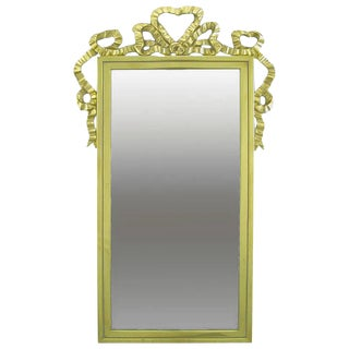 Brass Wall Mirror With Solid Brass Ribbon Swag For Sale