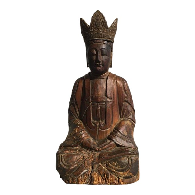 Chinese Ming Dynasty Carved Wooden Bodhisattva For Sale