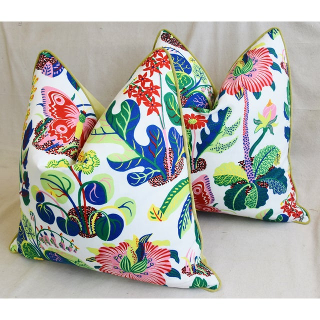 """Green Schumacher Exotic Butterfly Floral Feather/Down Pillows 24"""" Square - Pair For Sale - Image 8 of 13"""