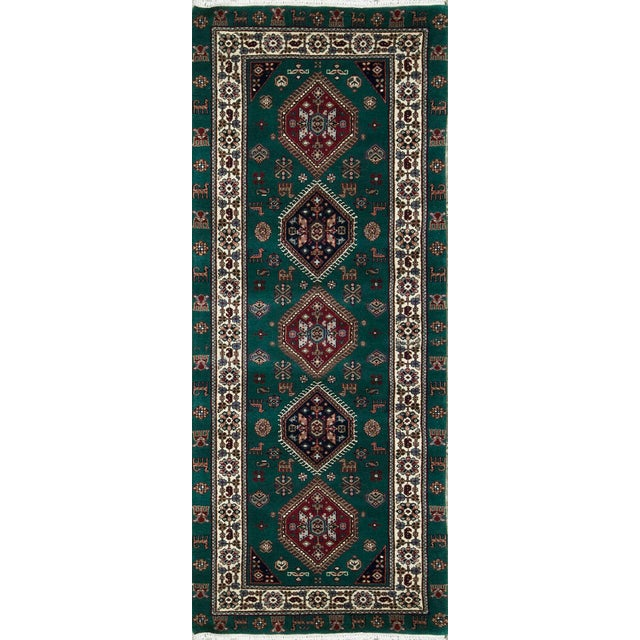 Transitional Hand Woven Green and Ivory Wool Rug 2'8 X 7'2 For Sale - Image 4 of 4