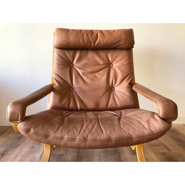 Mid-Century Modern Ingmar Relling for Westnofa Mid-Century Modern Leather Siesta Chair With Ottoman For Sale - Image 3 of 13